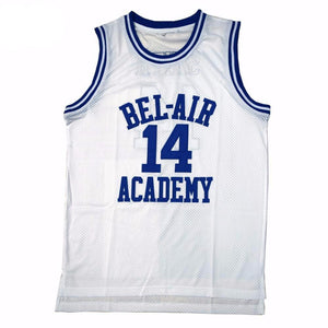 WHITE FRESH PRINCE OF BEL-AIR JERSEY WILL SMITH #14 BASKETBALL THROWBACK JERSEY