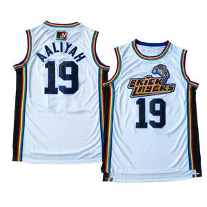 "WHITE MTV ""AALIYAH"" BRICK LAYERS #19 BASKETBALL MUSIC THROWBACK JERSEY - ThrowbackJerseys.com"