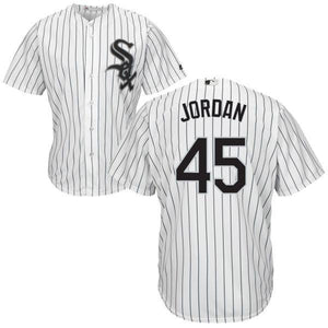 "WHITE PINSTRIPE CHICAGO ""JORDAN"" #45 BASEBALL THROWBACK JERSEY - ThrowbackJerseys.com"