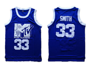 BLUE MTV #33 ROCK AND JOCK WILL SMITH BASKETBALL MUSIC THROWBACK JERSEY