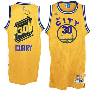 "YELLOW ""CURRY"" THE CITY #30 BASKETBALL THROWBACK JERSEY - ThrowbackJerseys.com"