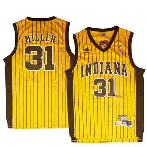 "YELLOW PINSTRIPED INDIANA ""MILLER"" #31 BASKETBALL THROWBACK JERSEY - ThrowbackJerseys.com"