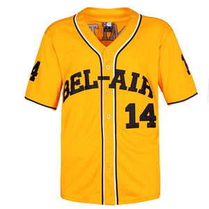 YELLOW FRESH PRINCE OF BEL-AIR WILL SMITH #14 BASEBALL THROWBACK JERSEY
