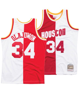 "HOME & AWAY SPLIT HOUSTON ""OLAJUWAN"" #34 BASKETBALL THROWBACK JERSEY"