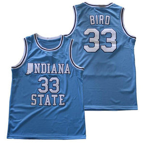 "UNIVERSITY BLUE INDIANA STATE ""BIRD"" #33 COLLEGE BASKETBALL THROWBACK JERSEY"