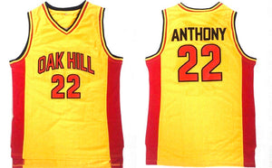 YELLOW CARMELO ANTHONY OAK HILL #22 HIGHSCHOOL BASKETBALL THROWBACK JERSEY
