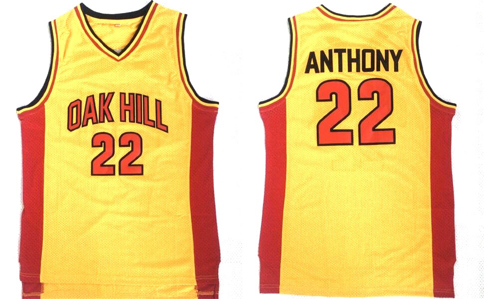 huge selection of 7779a 23552 YELLOW CARMELO ANTHONY OAK HILL #22 HIGHSCHOOL BASKETBALL THROWBACK JERSEY