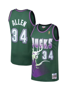 "GREEN AND PURPLE MILWAUKEE BUCKS ""ALLEN"" #34 BASKETBALL THROWBACK JERSEY"