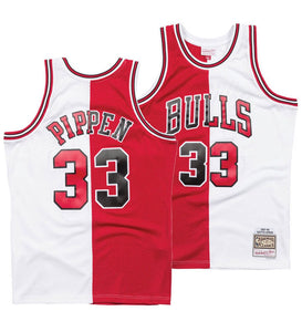 "HOME & AWAY SPLIT RED AND WHITE CHICAGO ""PIPPEN"" #33 BASKETBALL THROWBACK JERSEY"