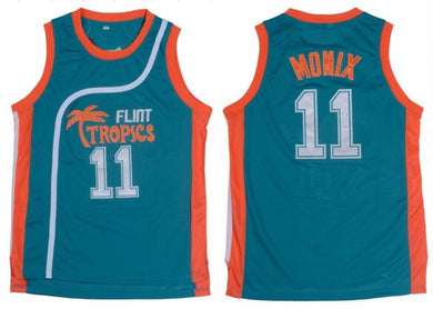 TEAL ED MONIX #11 FLINT TROPICS BASKETBALL THROWBACK MOVIE JERSEY