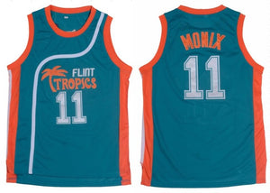 TEAL ED MONIX #11 FLINT TROPICS BASKETBALL THROWBACK MOVIE JERSEY - ThrowbackJerseys.com