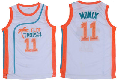 WHITE ED MONIX #11 FLINT TROPICS BASKETBALL THROWBACK MOVIE JERSEY