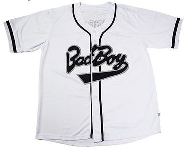 WHITE BAD BOY #10 BIGGIE BASEBALL MUSIC THROWBACK JERSEY