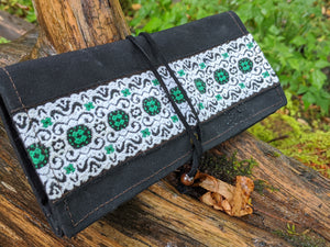 Black Canvas Roll Up Pouch with Leather Cord and Vintage Trim OOAK