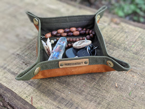 Leather and Waxed Canvas Travel Tray for your Gear or EDC