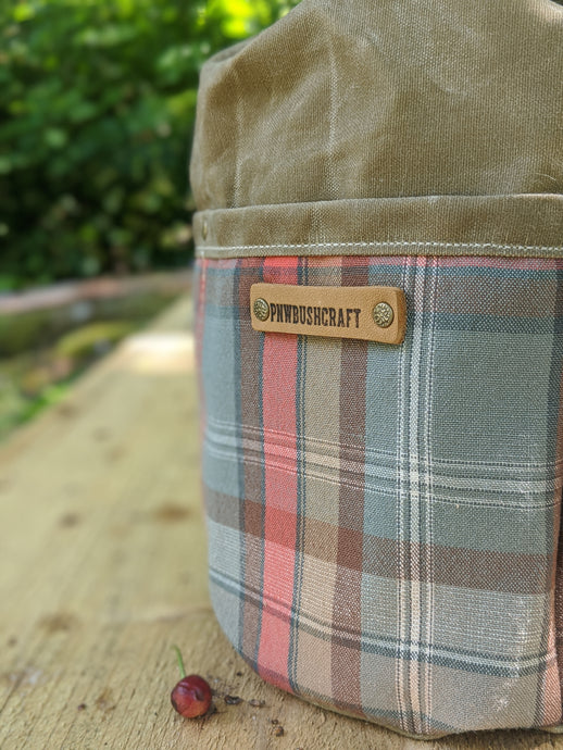 Tan Cedar Bucket Bag with Plaid Outside Pockets