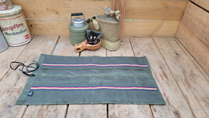 Kestrel Waxed Canvas Tool Roll Up with Vintage Stripes