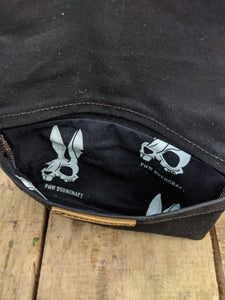 Death Bunny Canvas Roll Up Pouch with Leather Cord