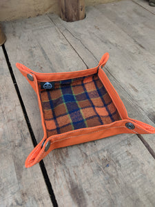 Wool and Orange Waxed Canvas Travel Tray for your Gear or EDC