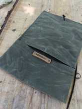 Handy Canvas Roll Up Pouch with Leather Cord and Vintage Trim