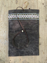 Brown Canvas Roll Up Pouch with Leather Cord and Vintage Trim