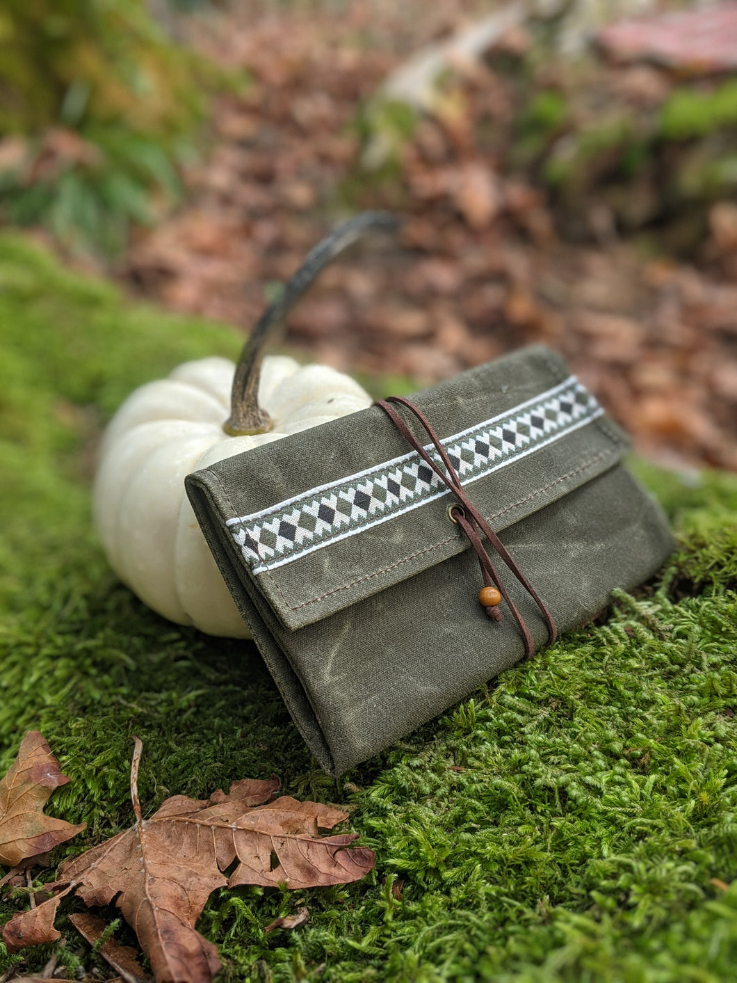 Green Canvas Roll Up Pouch with Leather Cord and Vintage Trim - PNW BUSHCRAFT