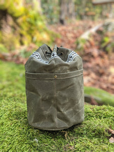 Green Cedar Bucket Bag with Vintage Trim and Outside Pockets