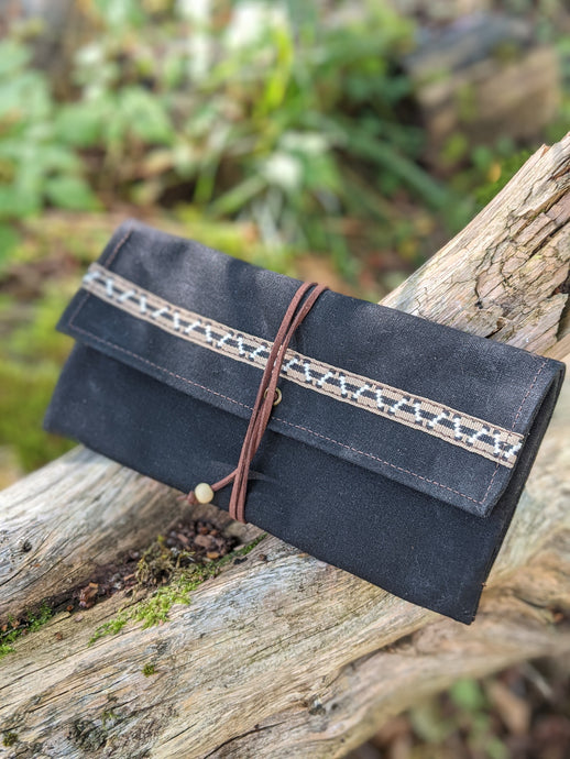 Black Canvas Roll Up Pouch with Leather Cord and Vintage Trim