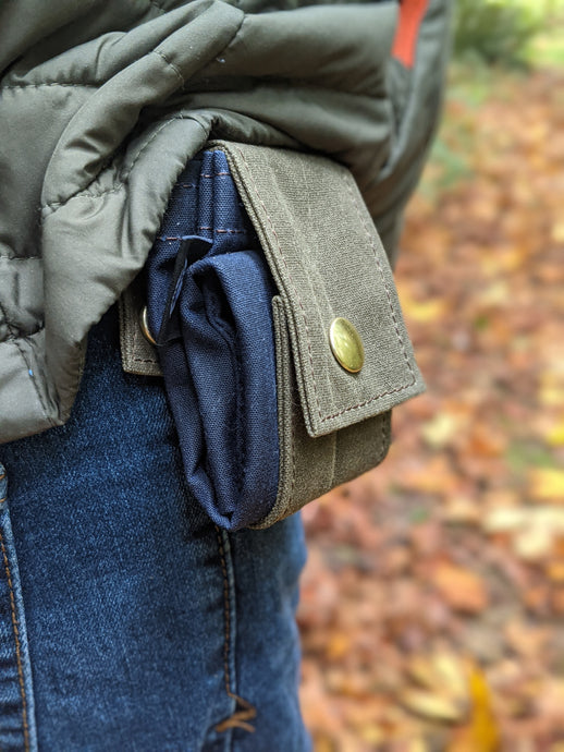 Green and Navy Blue Rugged Waxed Canvas Foraging Pouch, Hip Bag