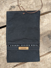 Black Waxed Canvas Roll Up Pouch with Wool Lining