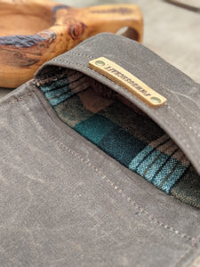 Brown Waxed Canvas Roll Up Pouch with Wool Lining