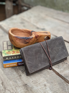 Brown Waxed Canvas Roll Up Pouch with Wool Lining - PNW BUSHCRAFT