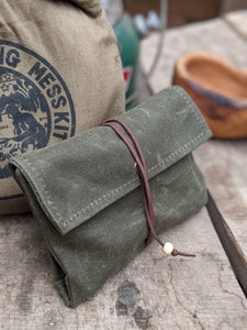 Small Green Waxed Canvas Roll up Pouch