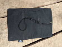 Black Waxed Canvas Roll Up Pouch with Purple and Blue Wool Lining