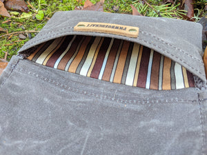 Waxed Canvas Roll Up Pouch with Brown Striped Lining