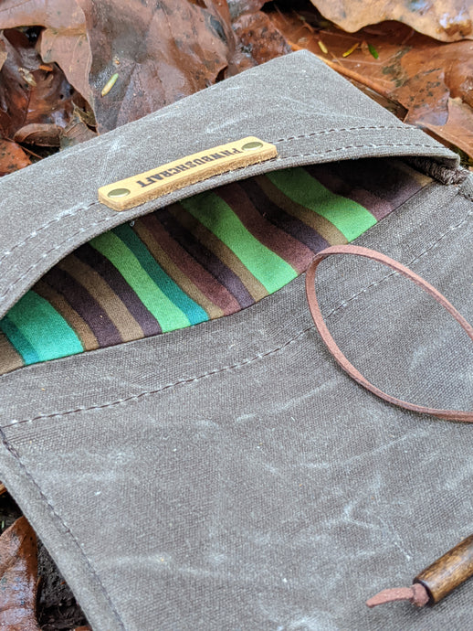 Brown Waxed Canvas Roll Up Pouch with Green and Brown Striped Lining