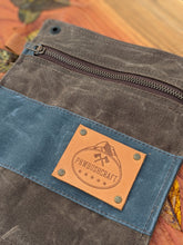 Brown and Blue Zipper Pouch