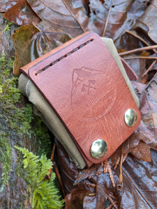 Handmade Tan Leather and Canvas Bushcraft Foraging Pouch