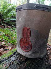 Waxed Canvas Bucket Bag with Leather Death Bunny