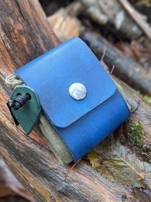 Blue Leather and Canvas Bushcraft Foraging Pouch
