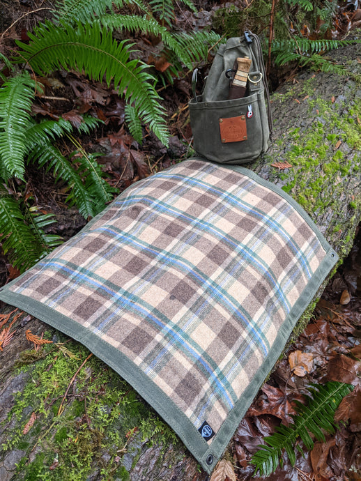 Wool Lined Green Waxed Canvas Junior Ground Cloth for Bushcraft