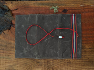 Brown Canvas Roll Up Pouch with Leather Cord and Vintage Hat Trim - PNW BUSHCRAFT