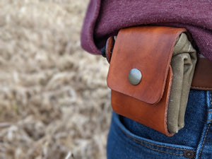 Leather and Waxed Canvas Foraging Pouch