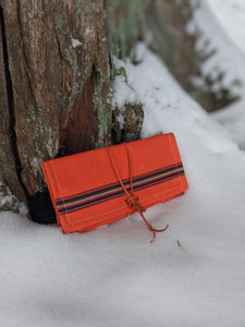 Orange Waxed Canvas Roll Up Pouch for Maps and Gear