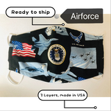 Ready to Ship Cloth Face Mask US Military Face Mask, Army, Air Force, Navy, Marine, Adult & Children Masks, Full Coverage