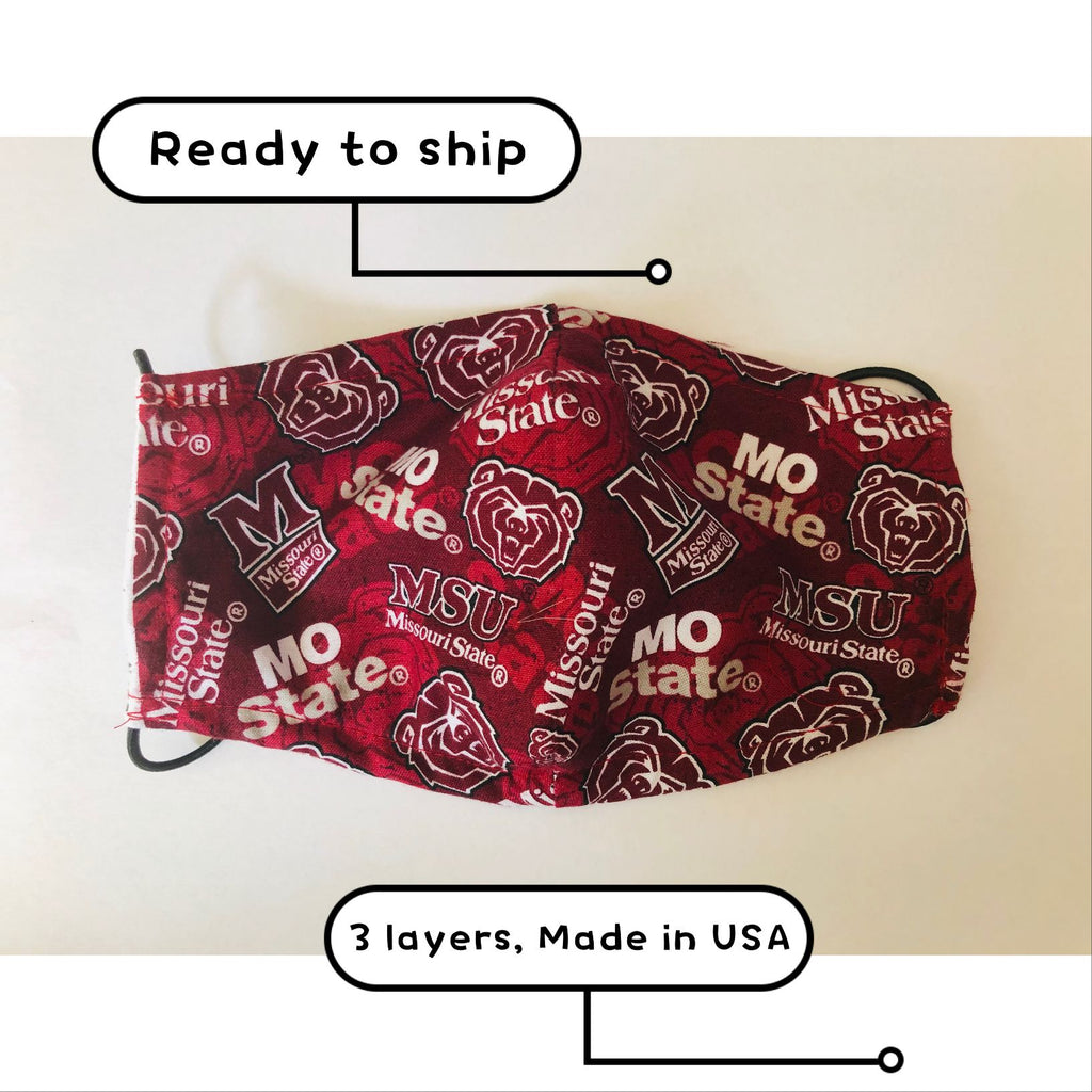 Ready to Ship Cloth Face Mask Missouri State University, MSU Face Mask, College Face Mask, Washable, Reusable, Fashion Adult Children Face Mask, Full Coverage!
