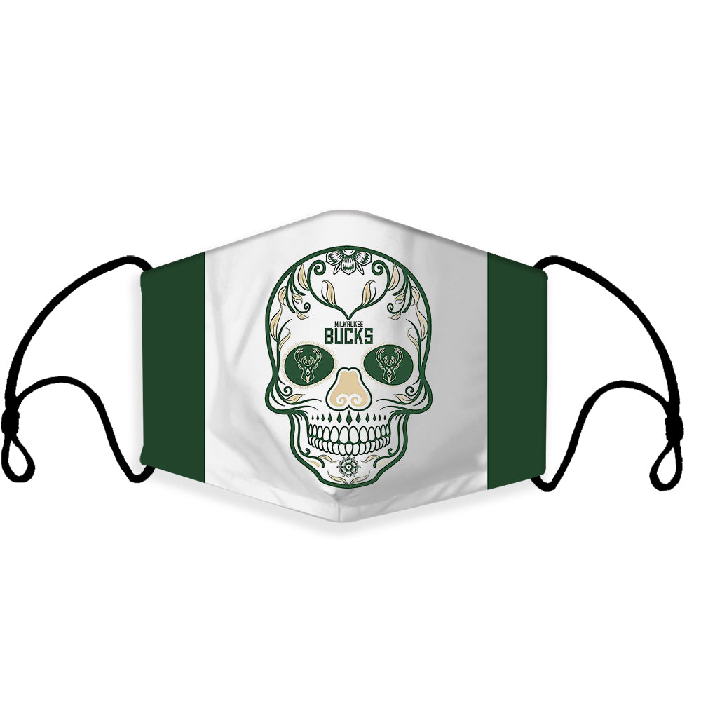 Ready to Ship Cloth Face Mask Milwaukee Bucks Skull, Sports Face Masks, NBA Basketball Masks, Washable, Reusable, Fashion Adult & Children Masks, Full Coverage!