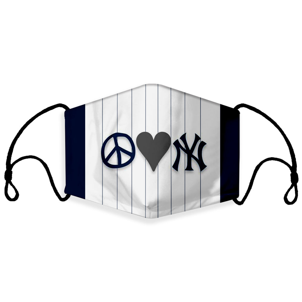 Ready to Ship Cloth Face Mask, Peace Love Yankees, Sports Face Mask, MLB Baseball Masks, Washable, Reusable, Fashion Adult & Children Masks, Full Coverage!