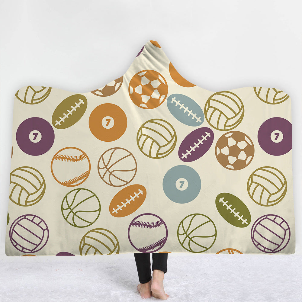 Custom 100% wool printed hooded blanket for adults