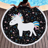Unicorn Microfiber large round beach towel with tassel fringe